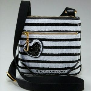 Juicy Couture Gray & Black Sequin Stripe Crossbody